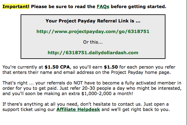 Project Payday referral program 2