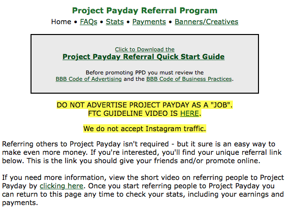 Project Payday referral program