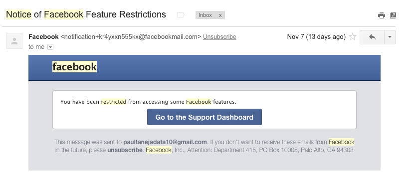 notice of facebook feature restrictions